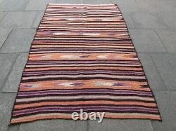 Vintage Old Main Traditionnelle Fait Oriental Wool Bleu Rouge Grand Kilim 230x148cm