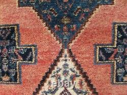 Vintage Old Traditional Hand Made Oriental Pink Blue Wool Grand Tapis 190x127cm