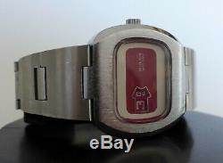 Vintage Rare Nos Buler Heure Suisse Montre Jump Withoriginal Bracelet 42mm Stock Vieux