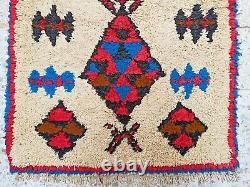Vintage Rug Marocain Fait Main Azilal Rug Laine Ancien Berbère Tribal Kilim 6'4 X2'8
