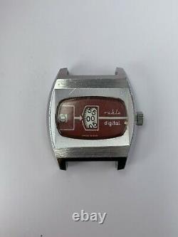 Vintage Ruhla Digital Jump Hour Antimagnétique Allemagne Rare Wrist Watch Old Retro