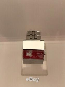 Vintage Sicura Heure Sautante Rouge Cadran Dames Rare Poignet Old Mécaniques Des Années 1970