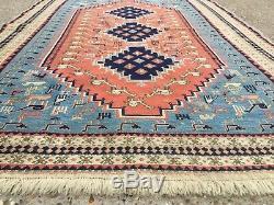 Vintage Soumak Kilim Rug Shabby Vintage Vieille Maison De Pays En Laine Kelim 160x106cm