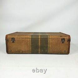 Vintage Tweed Rayé Brun 21 Valise 1930s 1940s Ancien Décor De Bagages