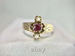 Vintage Victorien Rose 14k Or Naturel Vieux Mineur Rouge Rubis Graine Blanc Pearl Ring