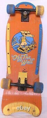 Vtg 1980's Vans Off The Wall Orange Old School Roues Trucks Deck Skateboard