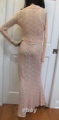 Vtg 30s Blush-pink Old Hollywood Bias-cut Floral Lace Fishtail Gown +bolero Jckt