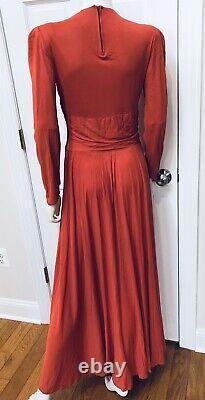 Vtg Années 1940 Old Hollywood Glam Coral Rayon Jersey Drapé Robe Wsunburst Deco Beads