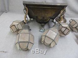 Vtg Brass Arts Crafts Mission Chandelier Luminaire Mica Shades Vieux 890-16