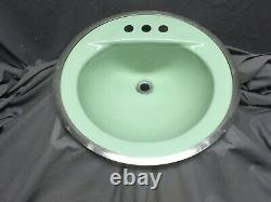 Vtg Cast Iron Jadeite Vert Rond Drop Dans Salle De Bain Sink Old Retro 348-20e