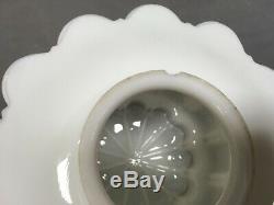 Vtg Deco En Laiton Pendant Light Fixture Lait En Verre De Gâteau De Mariage Globe Old 77-20e