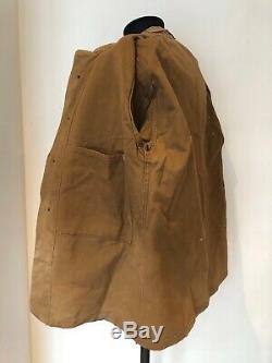 Worn Français Vintage Fermier Hunter Veste Brown Cotton Duck Corvée Workwear Old