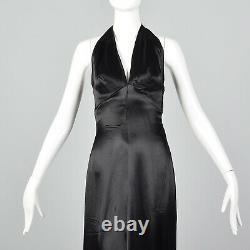 Xxs Années 1930 Black Liquid Satin Halter Robe Backless Evening Gown Old Hollywood